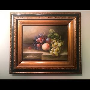 C. Freeman fruit still life oil on canvas.